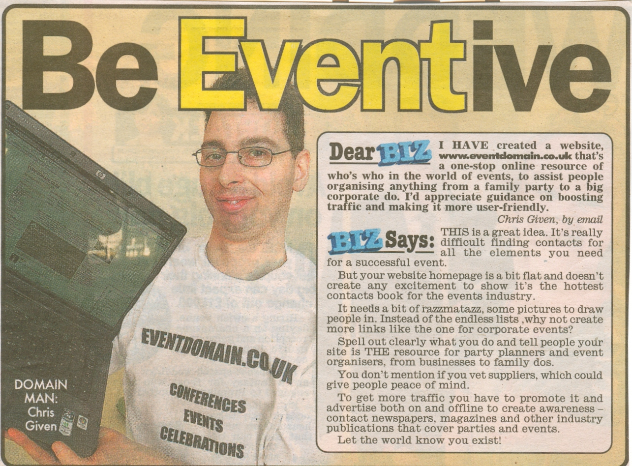 Eventdomain is featured in the Daily Mirror