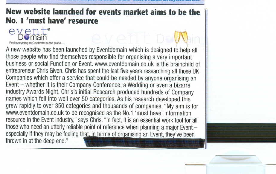 Eventdomain featured in Hotel Business Magazine