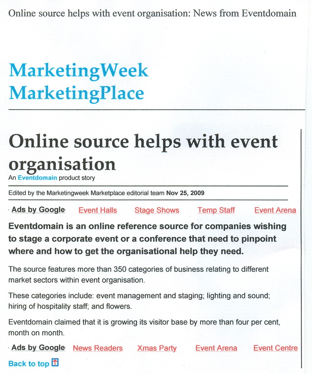 Online source helps with event organisation