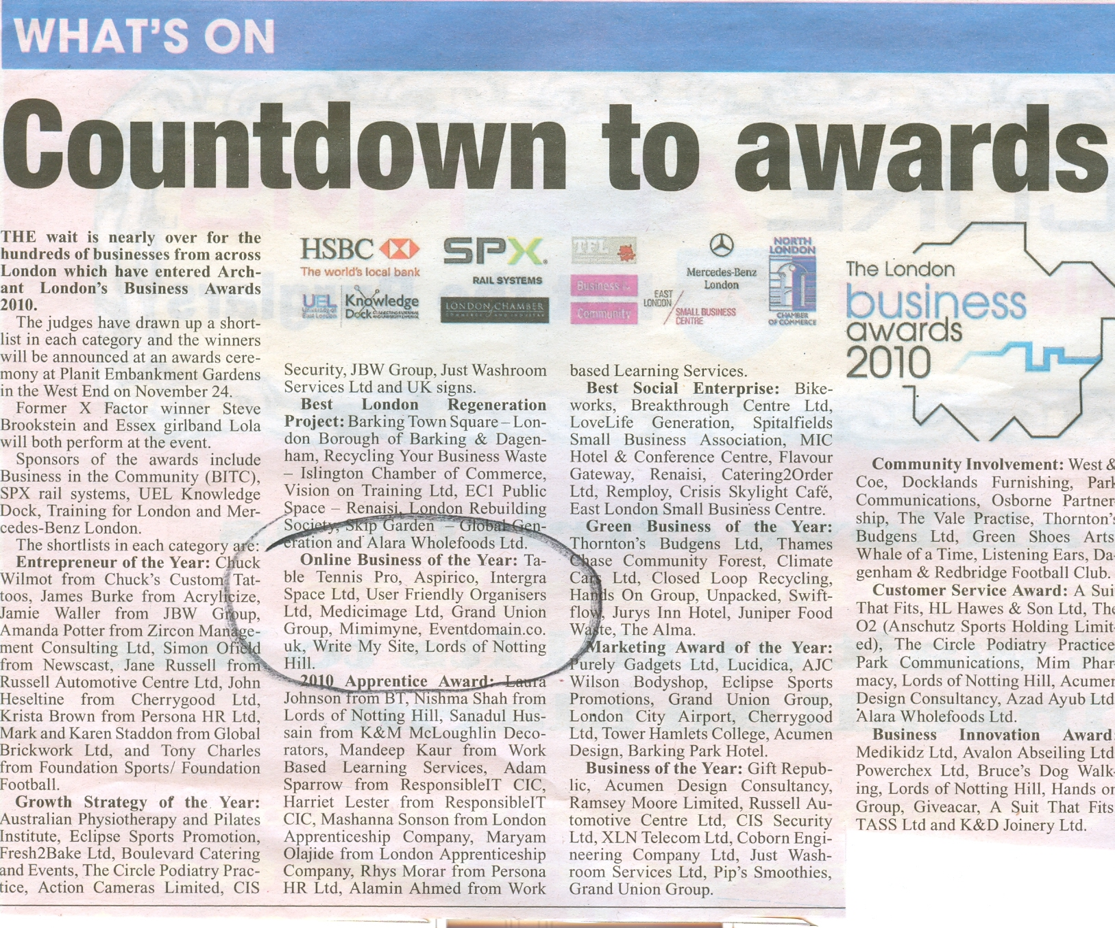 Eventdomain in the Barking Post Newspaper